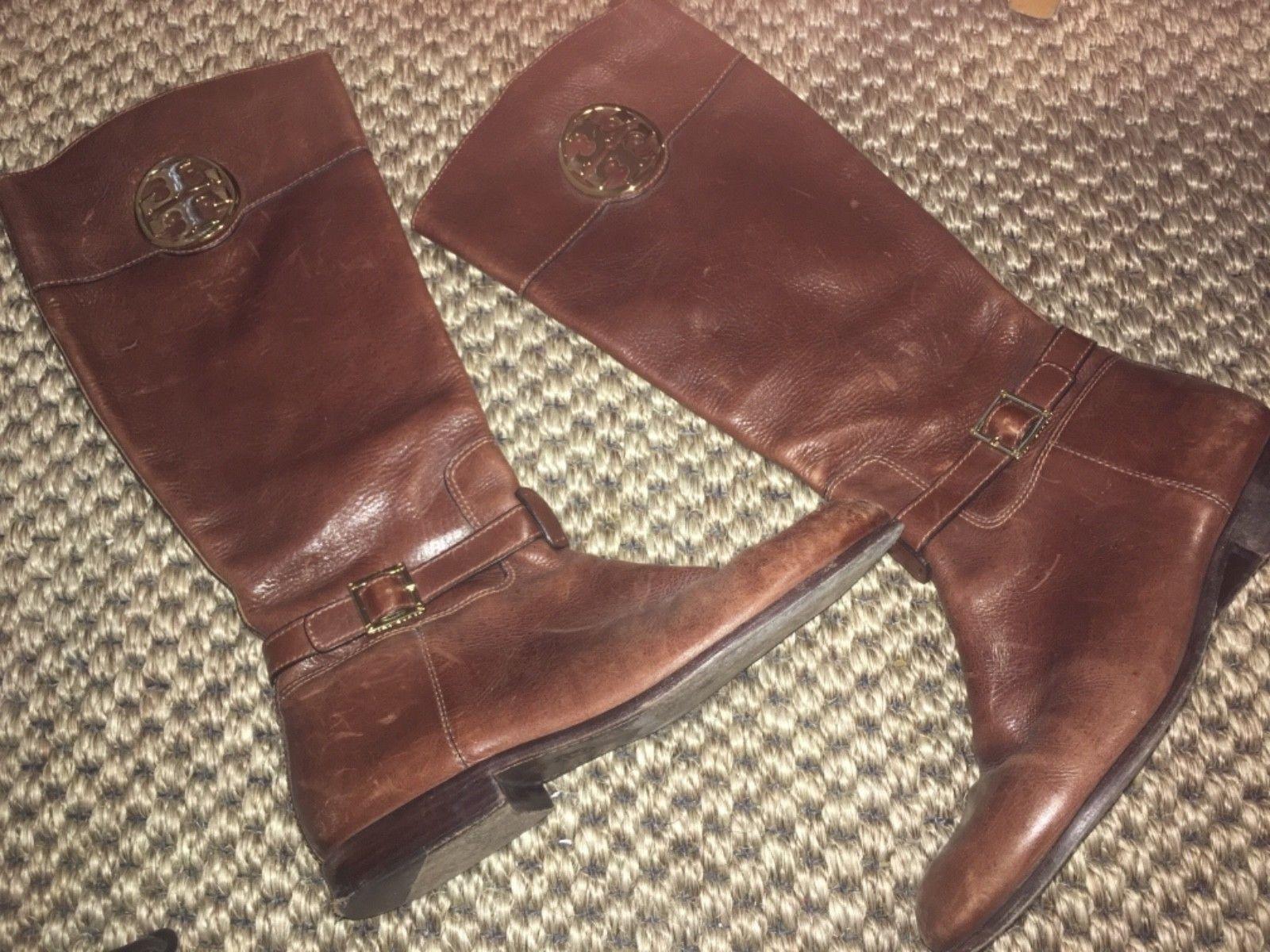 Tory Burch Para mujeres Cuero Marrón botas altas talla talla talla 9.5M  popular