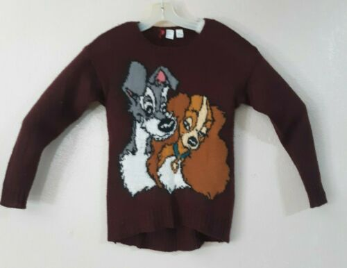 DISNEY Divided Burgundy Knit Pullover Sweater Size