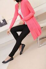 Womens shrug Pink knitted long air conditioning cardigans outer wear