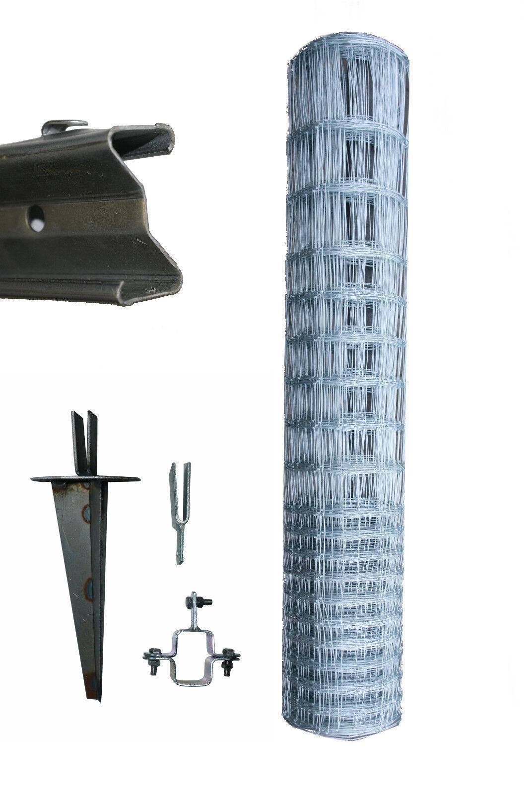 150 Meter Komplett - Set Wildgatter 150 19 15 Knotengeflecht Wildzaun Erdteller