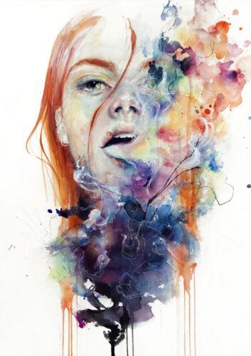 Art Print Poster Watercolor girl smoke