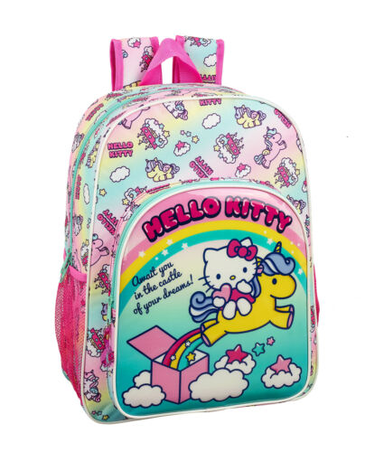 Hello Kitty Backpack School Bag Candy Unicorn Girls Rucksack Travel Bag  42cm