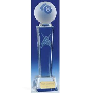 Verre Piscine Crystal Trophy Gratuite Gravure Personnalisé Gravé Award 3 Tailles NOUVEAU