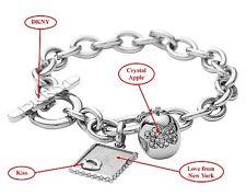 "$112 DKNY ~7"" Love from New York Kiss Stainless Steel Crystal Apple Bracelet NWT"