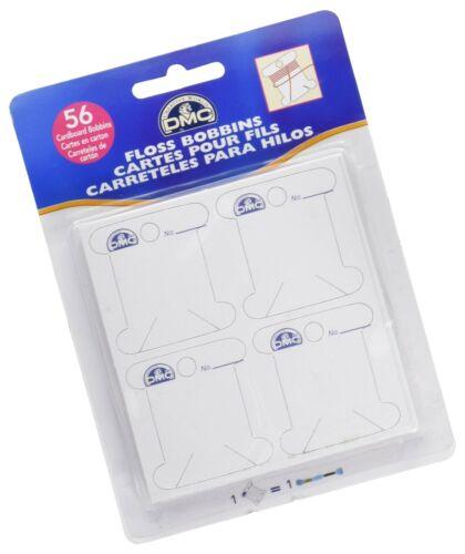 DMC 6101 Cardboard Floss White Bobbins 56-Pack