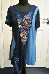 Women-039-s-Joe-Browns-Floral-Details-Blue-Tunic-Dress-Top-size-18