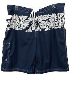 Mens-Speedo-Swim-Trunks-Board-Shorts-Blue-White-Floral-XXL-40