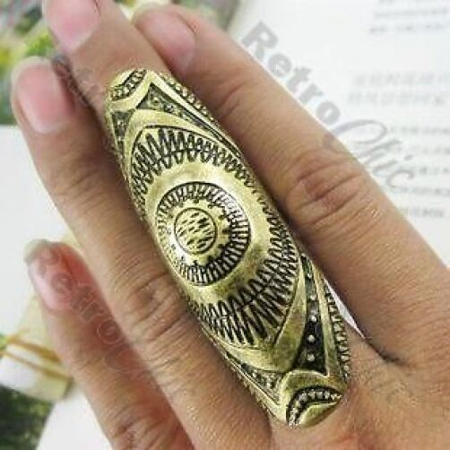 BIG full finger KNUCKLE joint ARMOUR RING vintage brass PUNK/URBAN/BOHO 8,P/Q