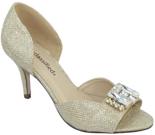 City Classified Women Slip On Heels Open Toe Pumps Gold Glitter Rhinestone POLAR