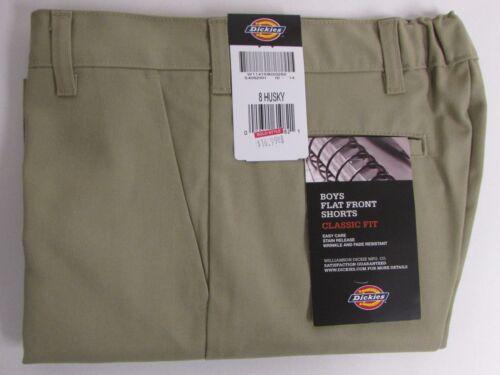 NEW Dickies Boys Khaki Shorts School Uniform Size 8 H Flat Front Classic Fit
