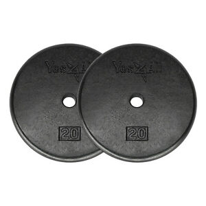 20-Lbs-Weight-Plates-Cast-Iron-Pair-Total-40-Lbs-Standard-1-034-Hole-Weights-Gym