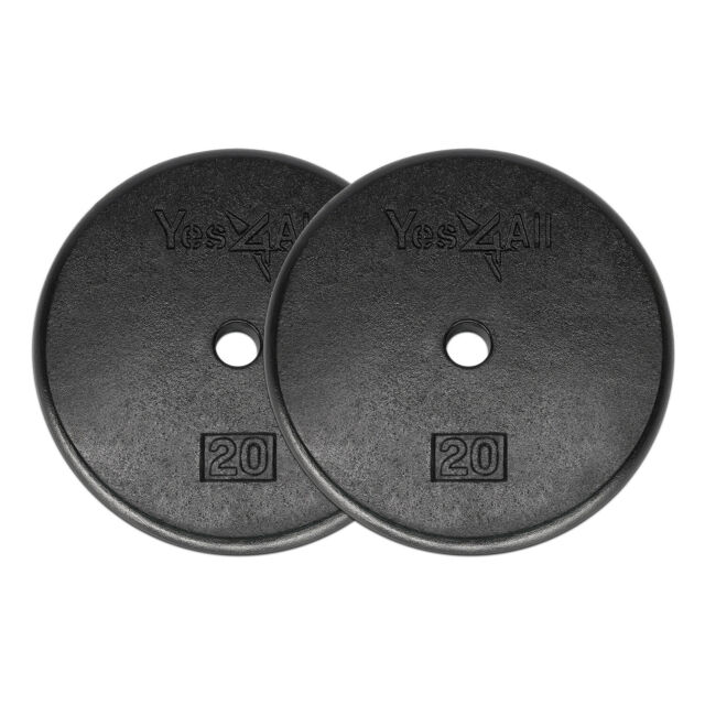 """20 Lbs Weight Plates Cast Iron Pair (Total 40 Lbs) Standard 1"""" Hole Weights Gym"""