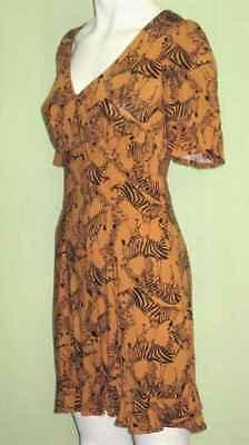 Midi Kleid,Volant Dress,Zebra Druck,schick,Gr.XS 34,Ocker ...