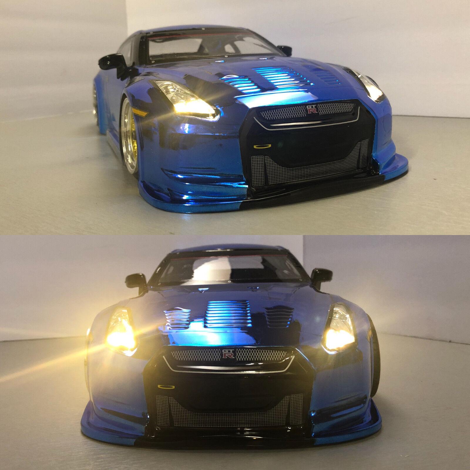 完全にカスタム1 / 10スケールのリモートドリフト制御車日産R 35 GTR青