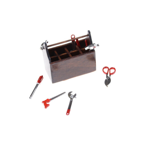 1:12 Scale Dollhouse Miniature Wooden Box Metal Hand Tools Set DA