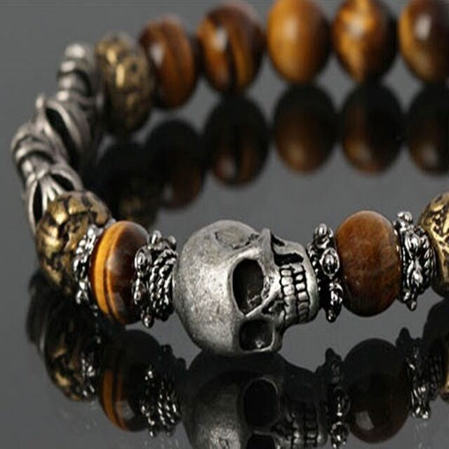 Guntwo Fashion Bracelets - Biker, Hip Hop Brown Skull Bangle Bracelet B5270 US