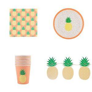 Pineapple-Fiesta-Placas-Tazas-Servilletas-amp-empavesado-Verano-Barbacoa-Fiesta-Sass-amp-Belle