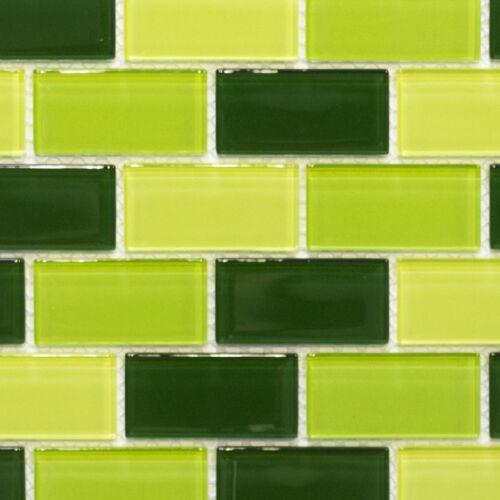 Glasmosaik mix kiwi hellgrün//grün//dunkelgrün Küche Wand Bad WB66-0506|1Matte