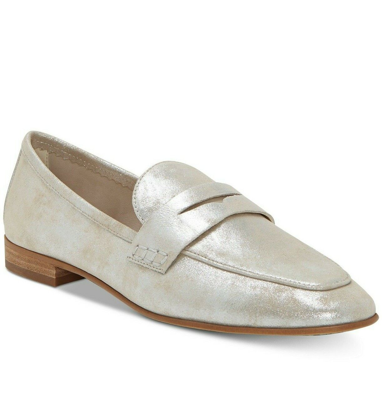 9.5M VINCE CAMUTO VC- MACINDA SANDY SILVER SPARKLING SUEDE LEATHER LOAFER SHOES