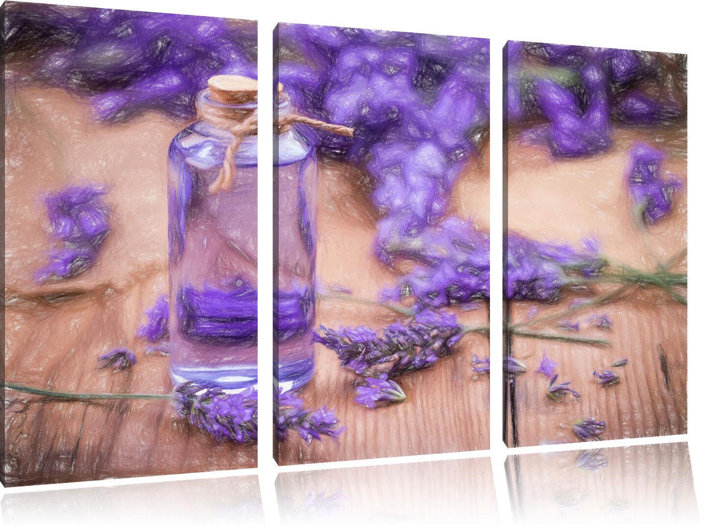 Fresco Flores de Lavanda Arte Efecto Varilla Colorida Efecto Arte 3-Teiler Foto en Lienzo 9fe9c5
