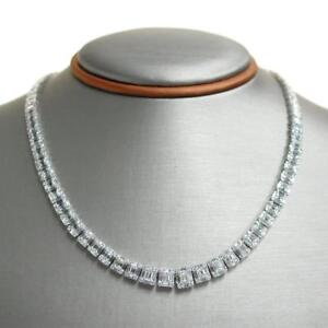 Gorgeous-15-90-TCW-Round-Baguette-amp-Emerald-Cut-Diamond-Necklace-18k-White-Gold