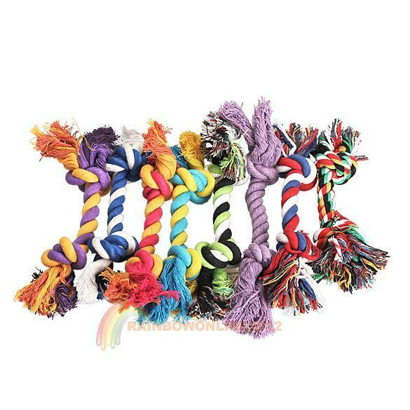 Fashion Cotton Rope Bone Pastel Knot Chew Tug Toy For Pet Doggy Happy Hot Sale