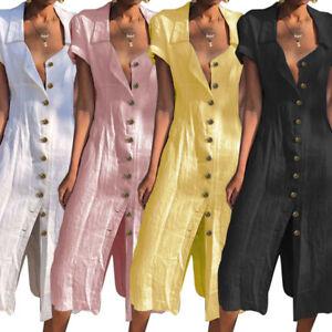 ZANZEA-Womens-Pure-Cotton-Summer-Short-Sleeve-Split-Shirt-Dress-Beach-Sundress