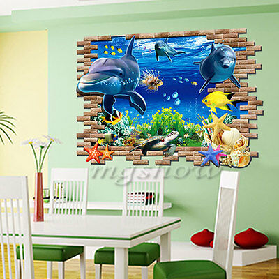 3D Ocean World Dolphins Home Removable Wall Sticker Mural Decals Decor Kids Room