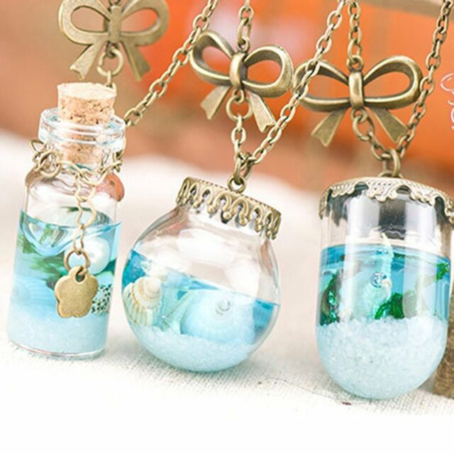 Ocean Pearl Starfish Seashell Glass Wishing Bottle Resin Pendant Necklace Chain