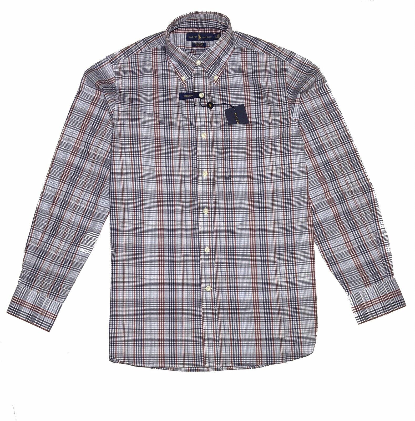 Ralph Lauren manica lunga cotone stretch Uomo Vestito Camicie RRP