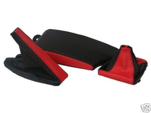 Fits bmw e46 accoudoir couverture Gear Frein à Main Guêtres 2 Ton Noir Rouge Nouveau