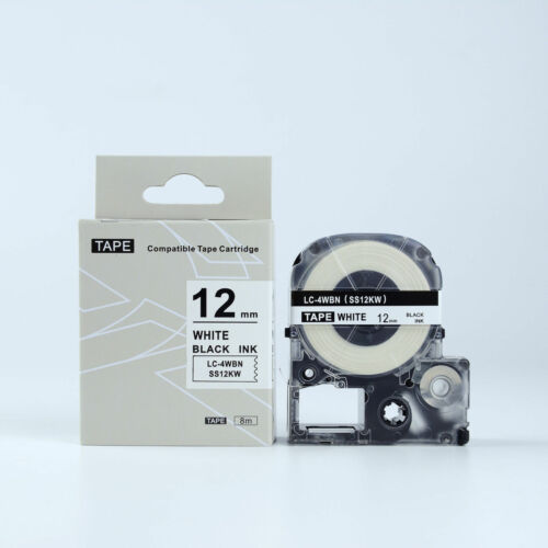 2PK Compatible EPSON 12mm LC-4WBN Label Tape Black on white 12mm 8m LW400 LW500