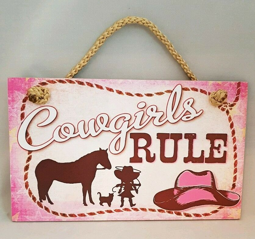c142646fa24ef Little Cowgirls Rule Sign Pink Plaque Western Cowboy Hat Horse Rope ...