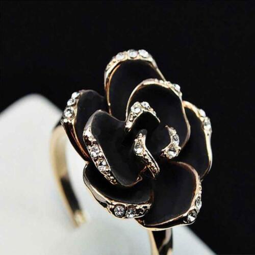 schmuck crystal mode frauen verstellbare gold schwarz rose blume.