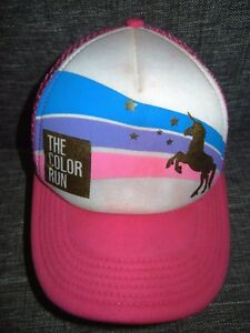 420ba6287 THE COLOR RUN Bright Pink Unicorn TRUCKER HAT Running Gym Race ...