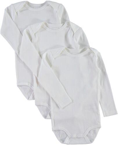 Name it Baby Body 3er Pack weiß Gr.50-98 langarm 100 /% Baumwolle unifarben Basic