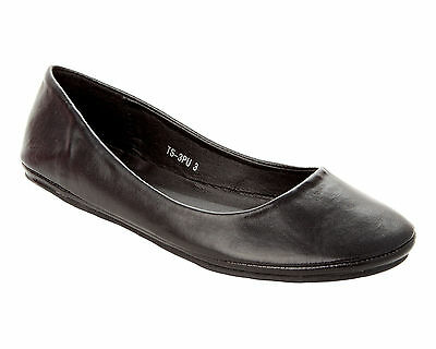 WOMENS BLACK FLAT CASUAL DOLLY