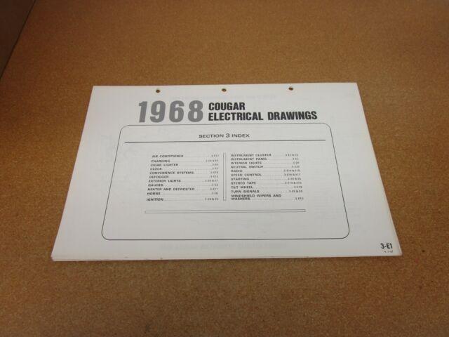 1968 Mercury Cougar Wiring Diagram Sheet Schematics Service Manual Original