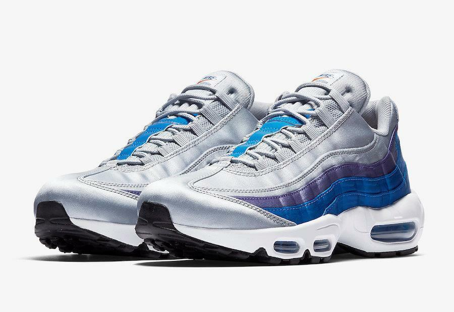 NIKE AIR MAX 95 SE  SATIN UPPER  AJ2018 001 WOLF GREY blueE NEBULA WHITE PURPLE