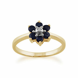 9ct-Yellow-Gold-0-55ct-Natural-Blue-Sapphire-amp-Diamond-Floral-Cluster-Ring