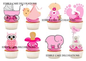 Baby Shower Girl STAND UP Cupcake Fairy Toppers Edible RicePaper Decorations