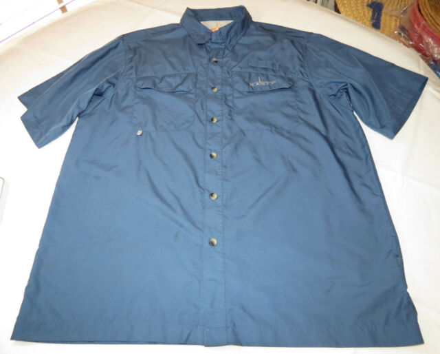 Men's Habbit UPF 30+ Solar Factor L short sleeve button up shirt casual blue GUC