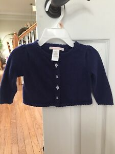 bb310bbd3a9af7 Janie And Jack Blue Flower Heart Cardigan Baby Girl Sweater Knit ...
