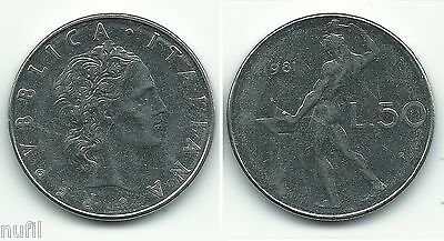 1981 Km# 95.1 ø 24.8 Mm Limpid In Sight Sweet-Tempered Italy Italy 50 Lire