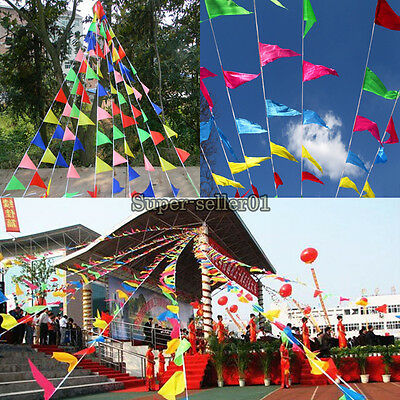 1Pcs Multi-color Small Flag Banner Pennant Party Birthday Wedding Rainbow Feast