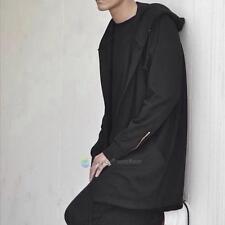 Men hooded jacket long cardigan black ninja goth gothic punk hoodie Black/White