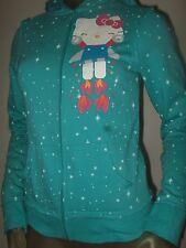 NWT Juniors S Aqua Robo Hello Kitty Robot Blast Off Stars Zip Up Hoodie Sweater