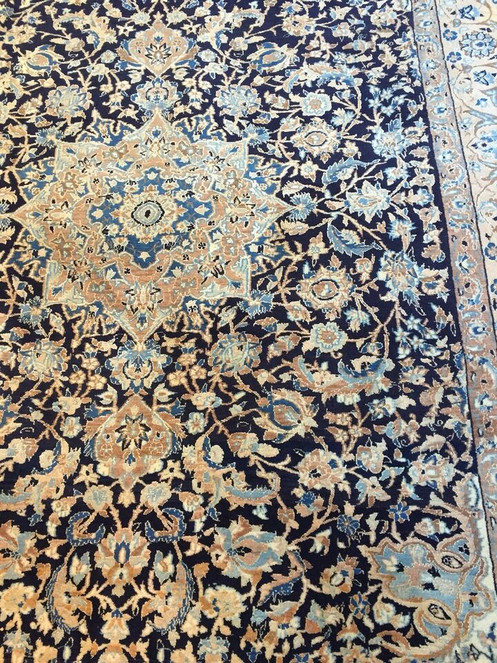 Gulvtæppe, ægte tæppe, Uld/silk på Bomuld