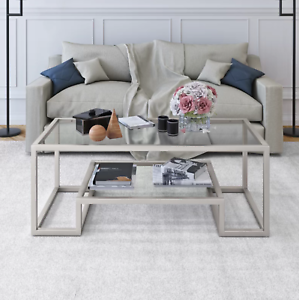 Details About Coffee Table Nickel Gl Top Shelf Silver Furniture Living Room Center Storage