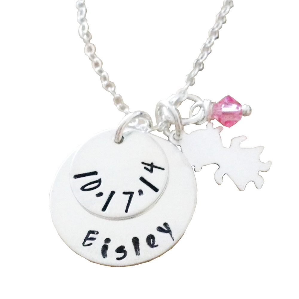 New Baby Hand Stamped Jewelry - Personalized Mommy Jewelry  Round Disc with Girl